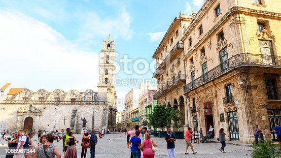 Plaza de San Francisco and Basilica San Francisco de Asis in Havana, Cuba (30.06.2018)