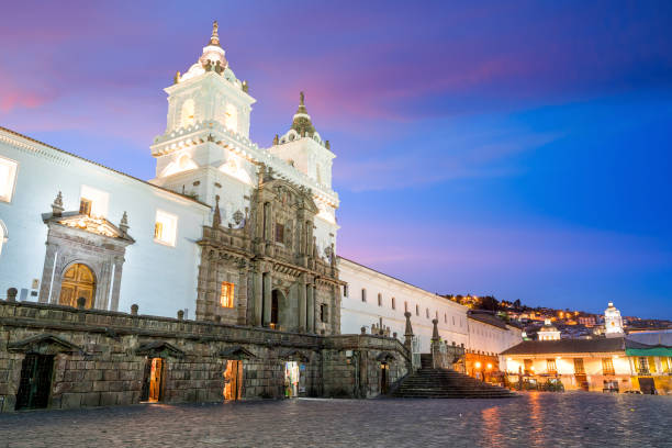 Plaza de San Francisco in old town Quito stock photo