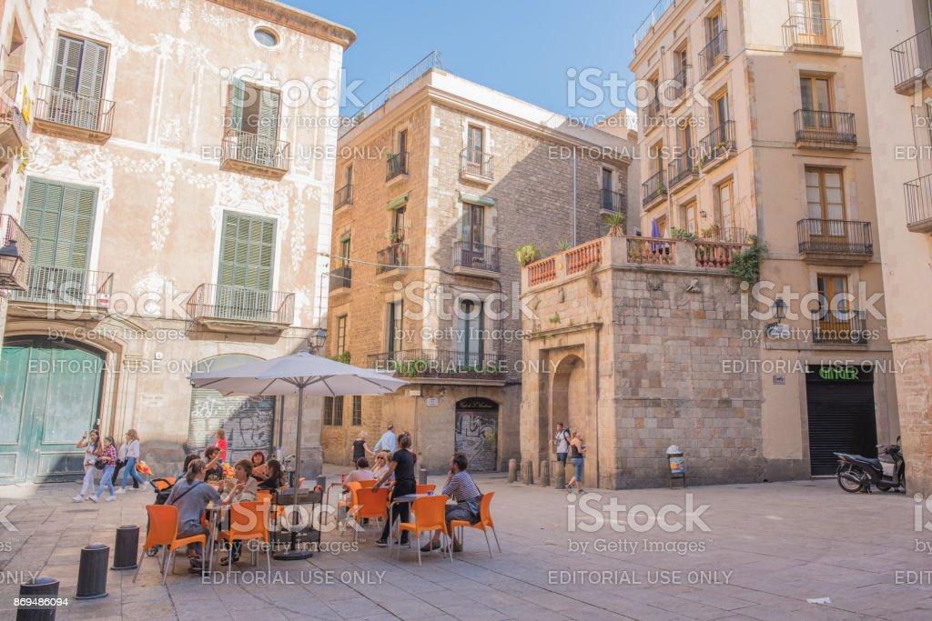 Plaza de Sant Just in Barcelona's Gothic Quarter stock photo