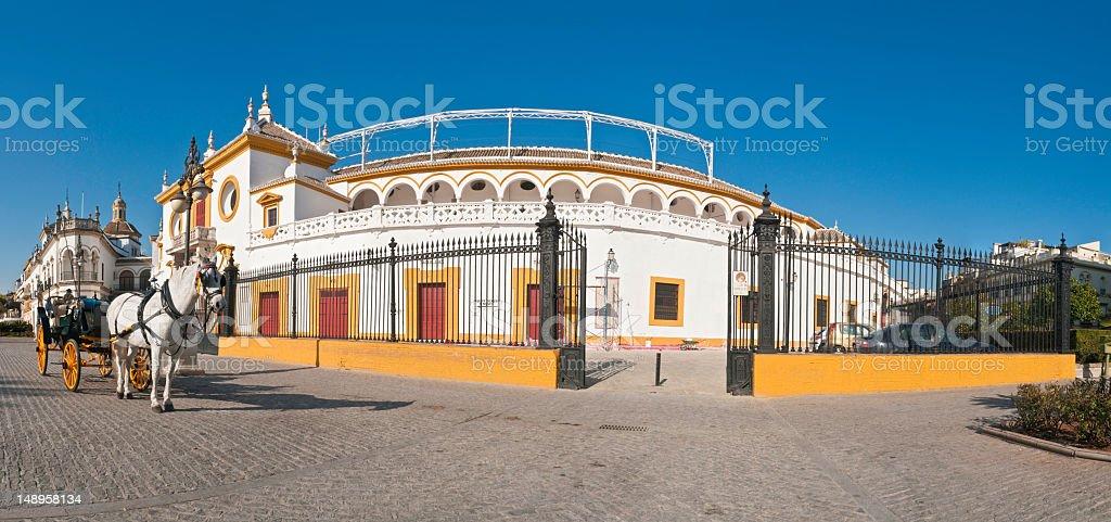 Plaza de Toros Seville horse carriage panorama royalty-free stock photo