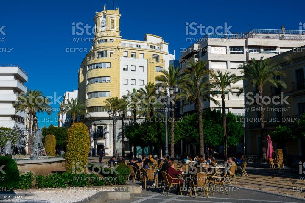 Plaza del Arenal, a big square in Jerez de la Frontera stock photo