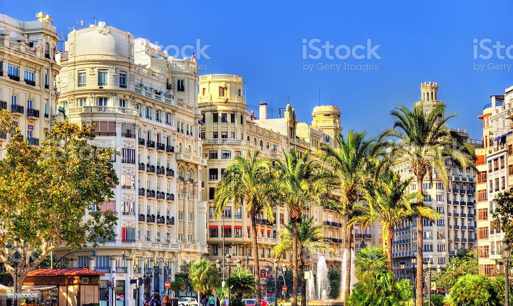 Plaza del Ayuntamiento of Valencia - Spain stock photo