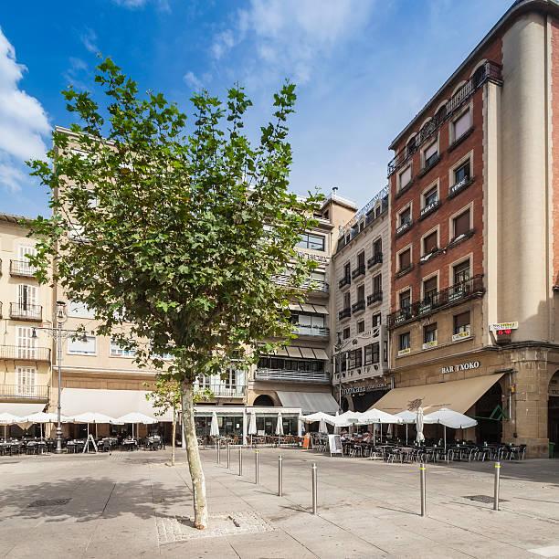 Plaza del Castillo in the center of Pamplona, Spain stock photo