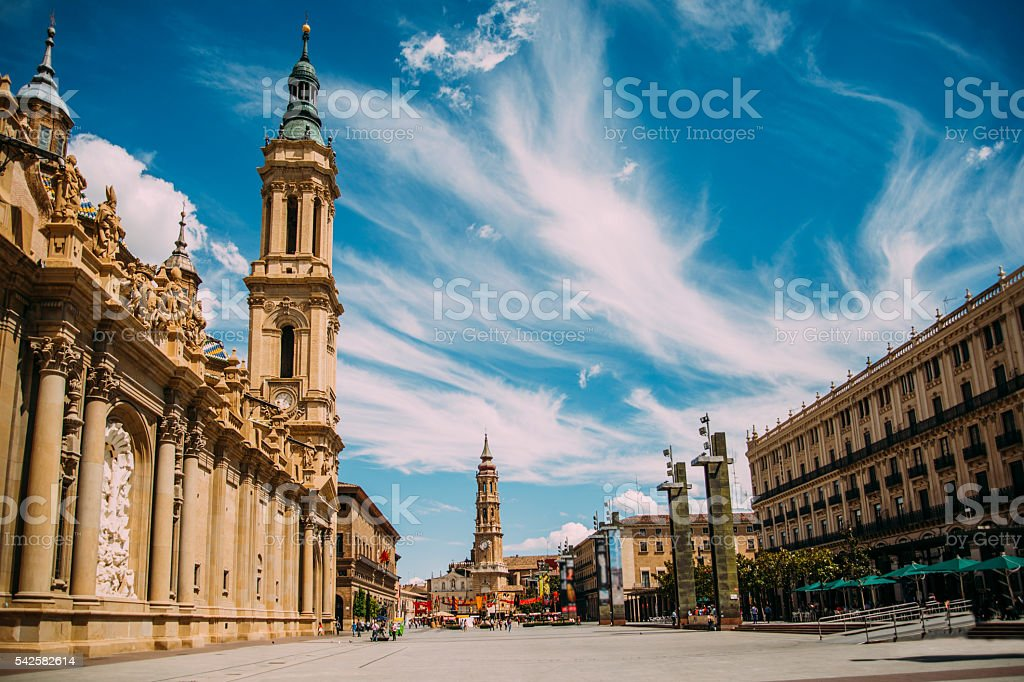 Plaza del Pilar, Zaragoza. stock photo