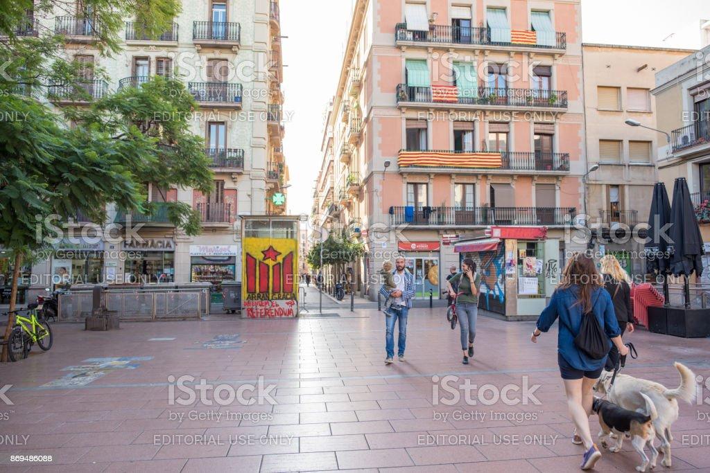 Plaza Del Revolucio in Gracia, Barcelona stock photo