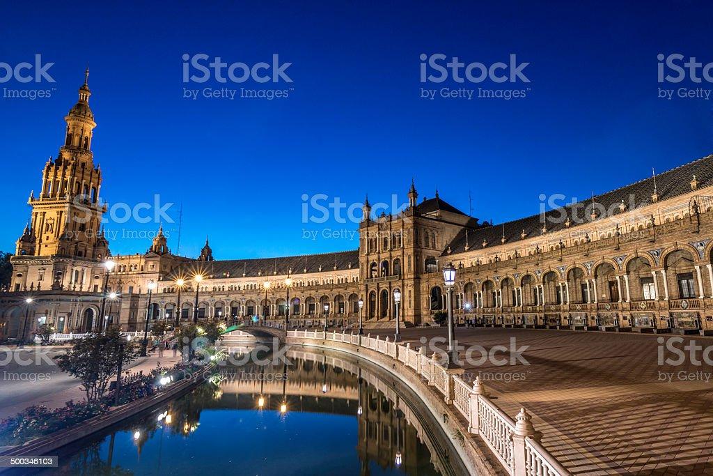 Plaza España at Night in Seville royalty-free stock photo