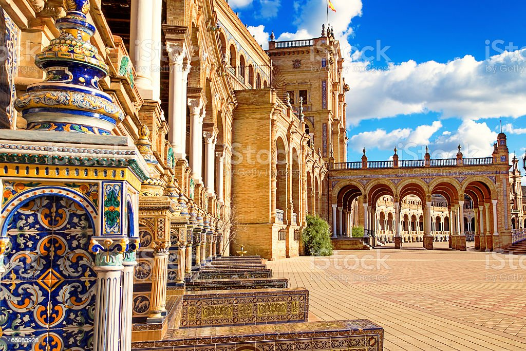 Plaza España close to the centre of Seville, Southern Spain stock photo