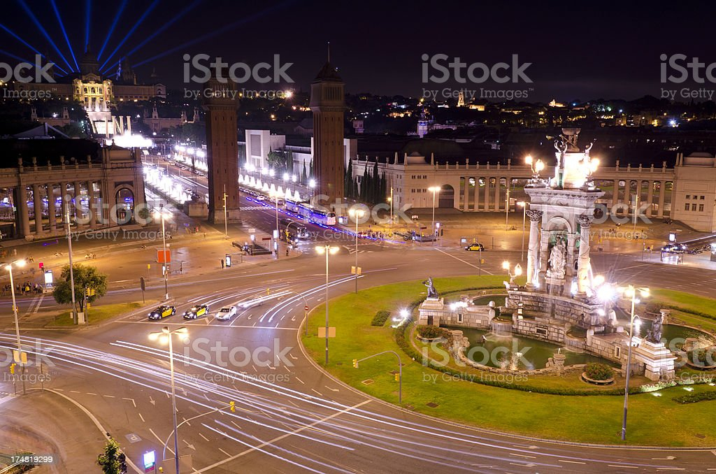 Plaza Espana at night, Montjuic, Barcelona stock photo