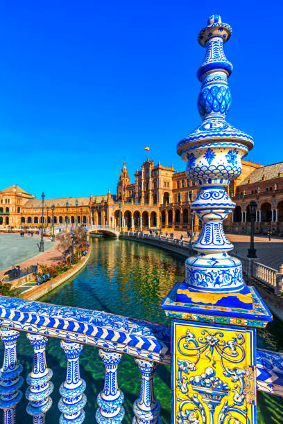 Plaza Espana in Sevilla , Spain. Plaza Espana. Tiled ornaments. Seville (Sevilla), Andalusia, Spain. seville stock pictures, royalty-free photos & images