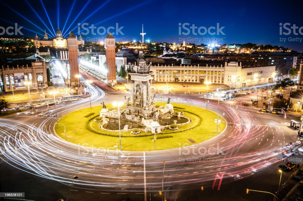 Plaza Espana Montjuic Barcelona stock photo