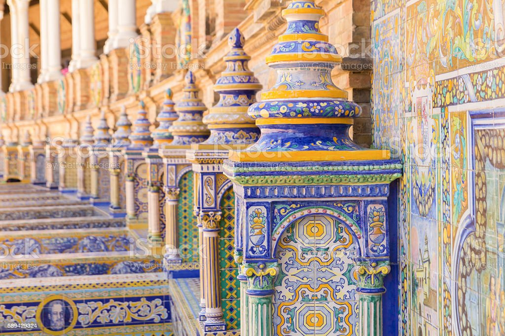 plaza espana seville ceramic decoration stock photo
