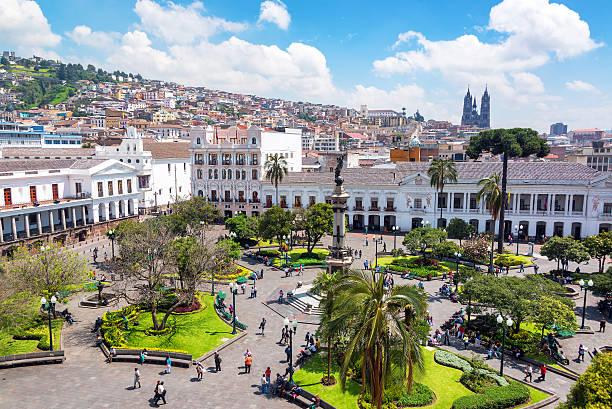 Plaza Grande in Ecuador stock photo