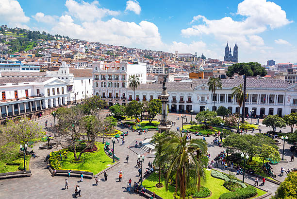 Plaza Grande in Ecuador stock photo