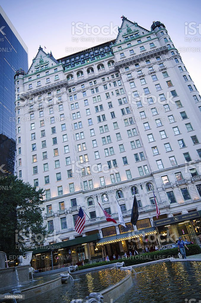 Plaza Hotel and Pulitzer Fountain in New York City stock photo
