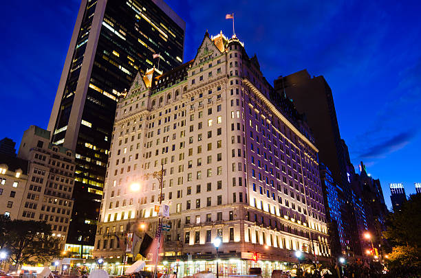 Plaza Hotel in New York City at night stock photo