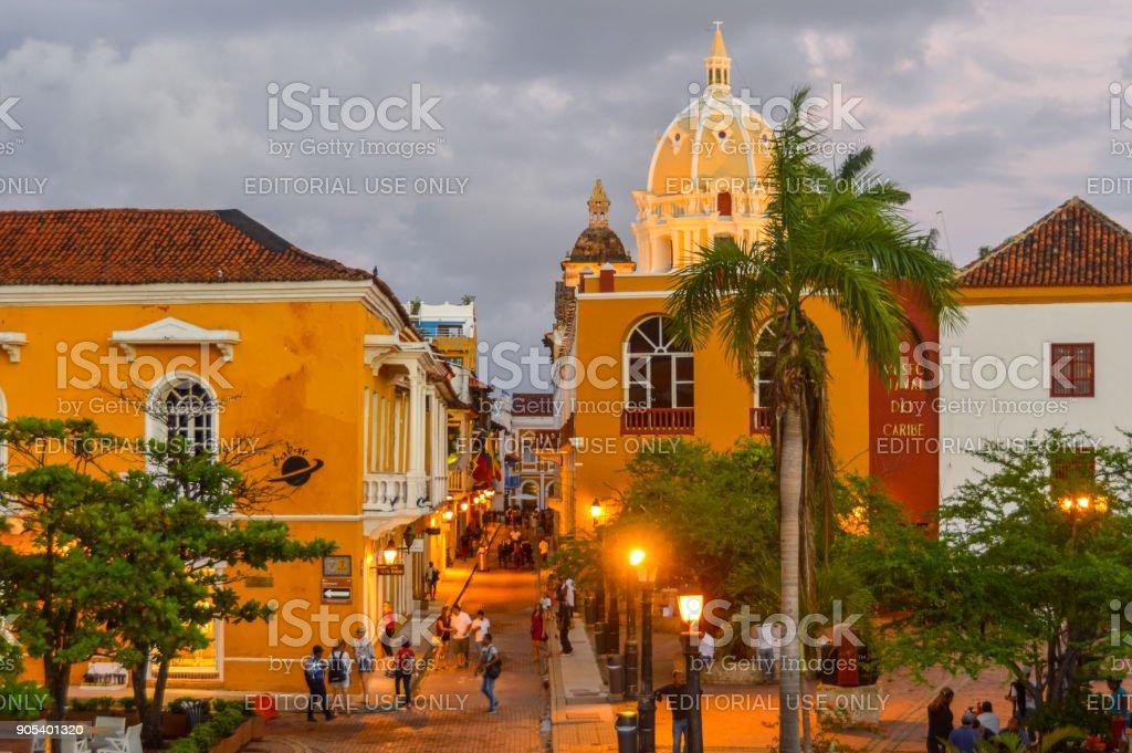 Plaza in Cartagena, Colombia stock photo