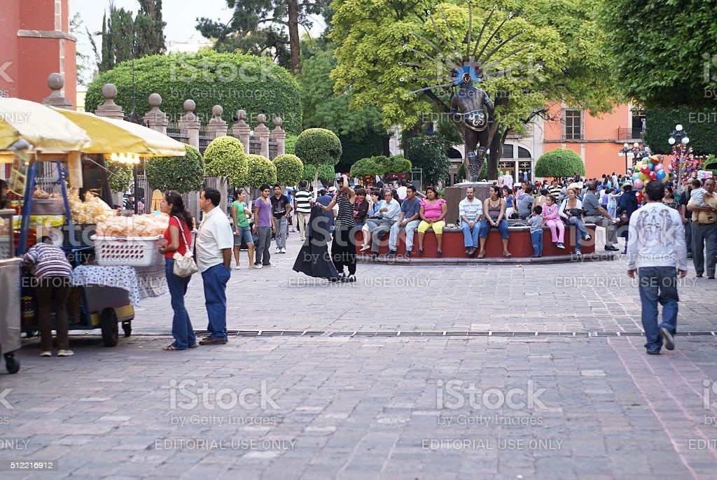 Plaza in Santiago de Queretaro with crowd of people, Mexico stock photo