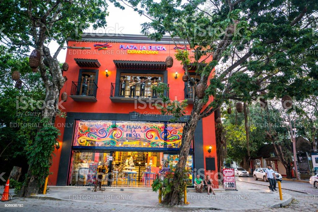 Plaza La Fiesta Big Gift Shop In Playa Del Carmen Mexico Stock Photo ... 441e869472d