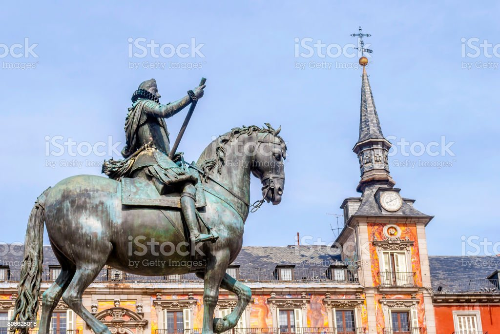 Plaza Mayor and King Philip lll equestrian statue stock photo