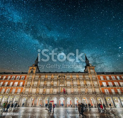 Plaza Mayor at night in Madrid, Spain