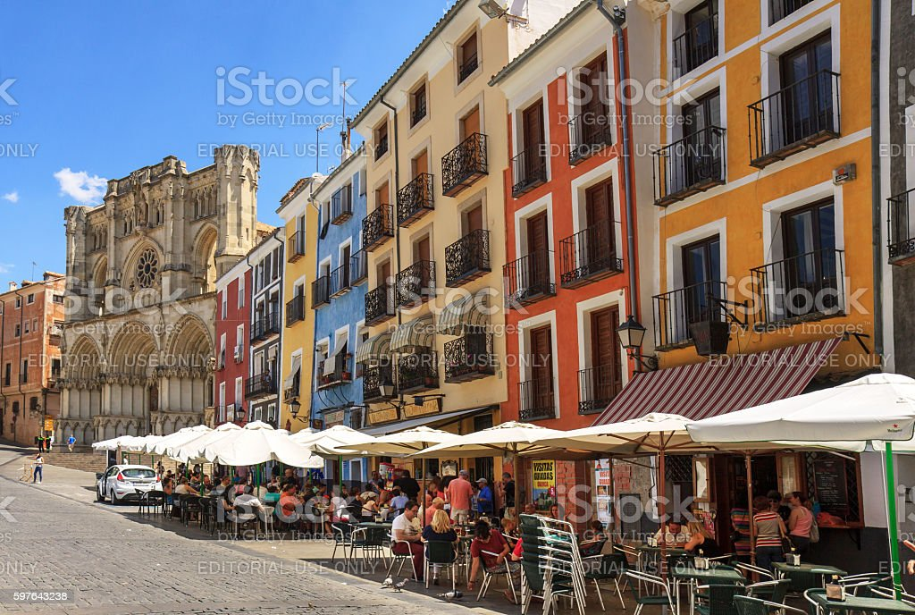 Plaza Mayor, Cuenca, with colourful houses and cathedral stock photo