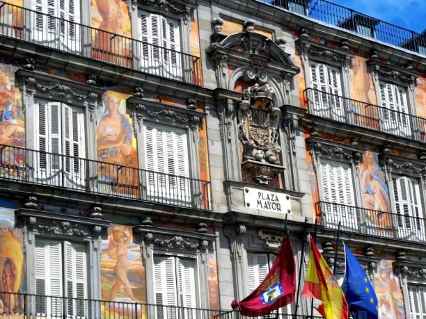 Plaza Mayor Facade, Madrid Spain stock photo
