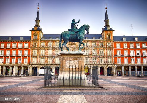 The famous Plaza Mayor in downtown Madrid, Spain.  The statue of King Philip III was created in 1616.