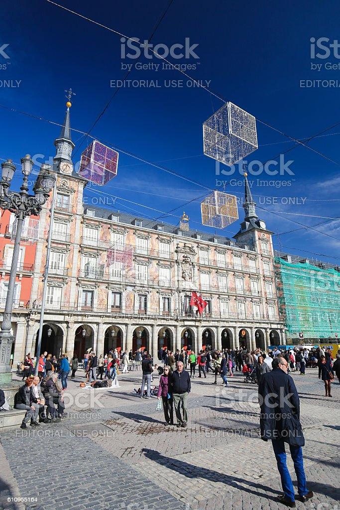 Plaza Mayor in Madrid, Spain stock photo