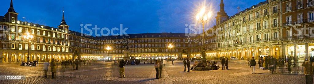 Plaza Mayor Madrid blue dusk stock photo