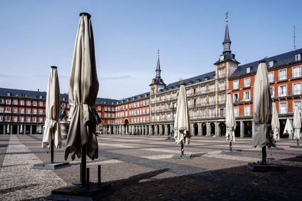 Plaza Mayor of Madrid (Spain), deserted by the coronavirus. stock photo