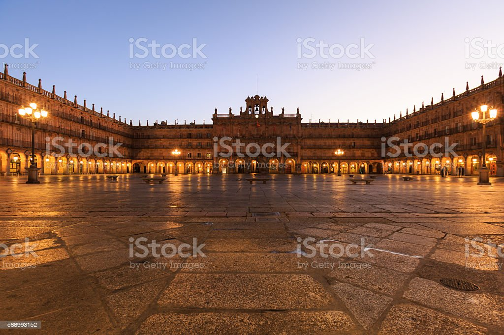 Plaza Mayor of Salamanca at dawn, Spain