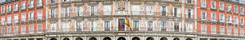 Plaza Mayor panorama Madrid stock photo