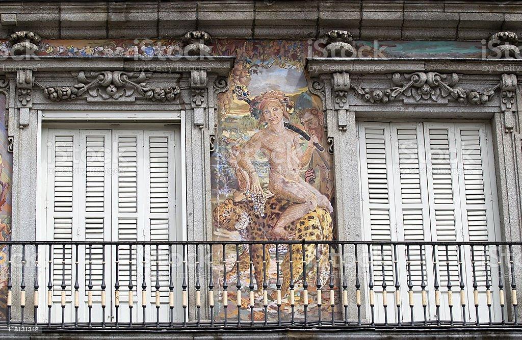 Plaza Mayor's painted balcony stock photo