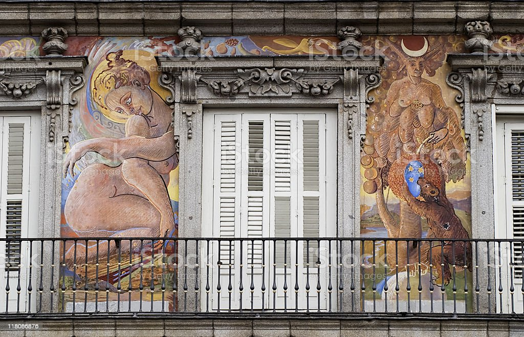 Plaza Mayor's painted facades stock photo
