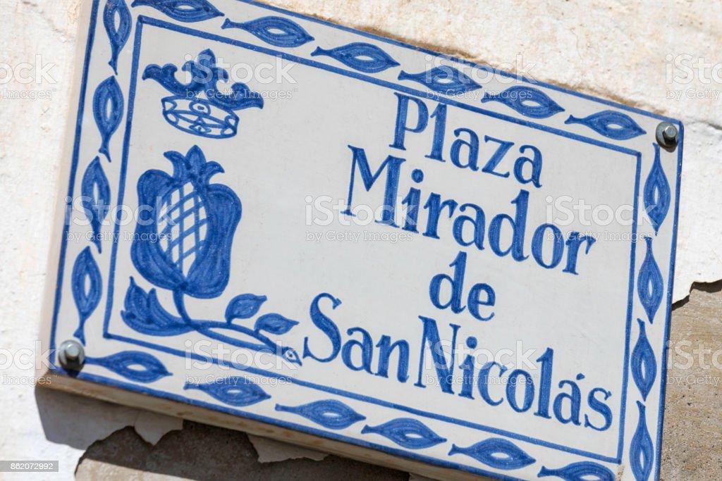 Plaza Mirador de San Nicolas stock photo