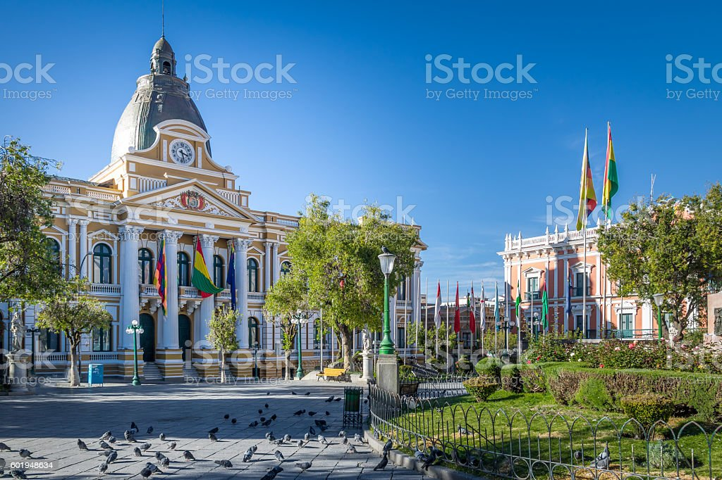 Plaza Murillo and Bolivian Government  Palace - La Paz, Bolivia stock photo