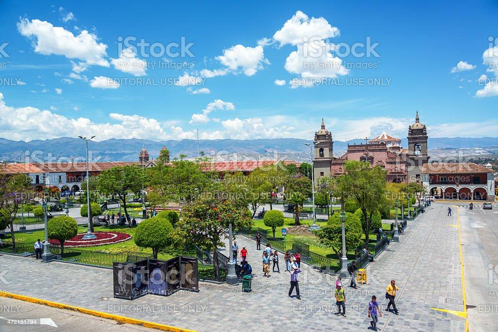 Plaza of Ayacucho, Peru stock photo