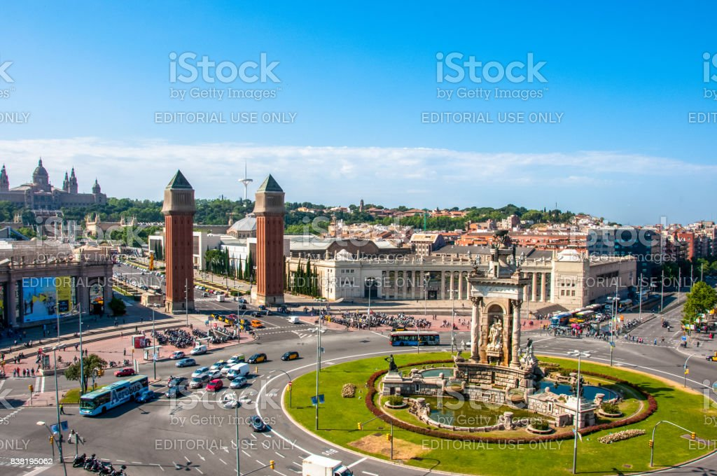 Plaza of Spain in Barcelona - one of the main squares of the capital of Catalonia, a landmark of the city Barcelona stock photo