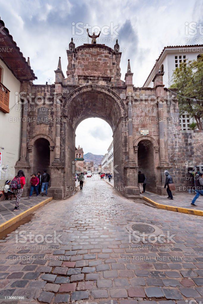 Plaza San Francisco in cusco, Peru stock photo