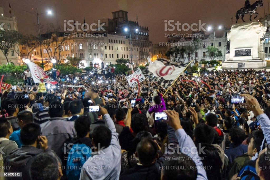 Plaza San Martin Rally, Lima, Peru stock photo