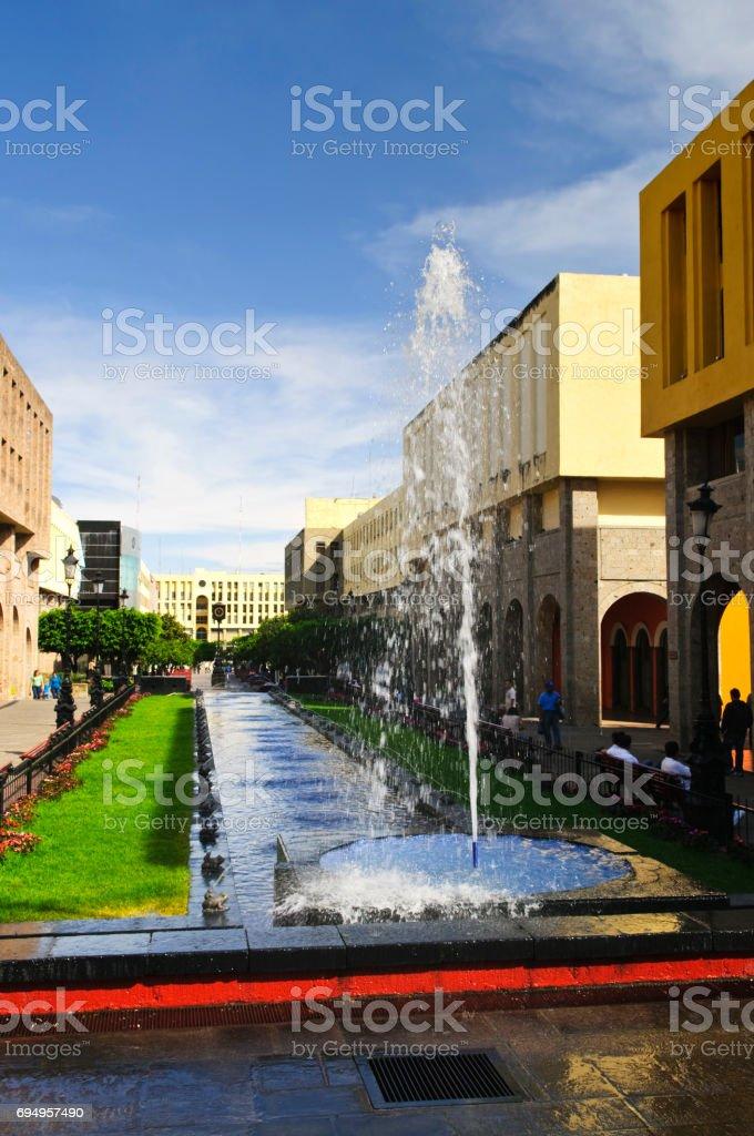 Plaza Tapatia with fountain in Guadalajara, Jalisco, Mexico stock photo