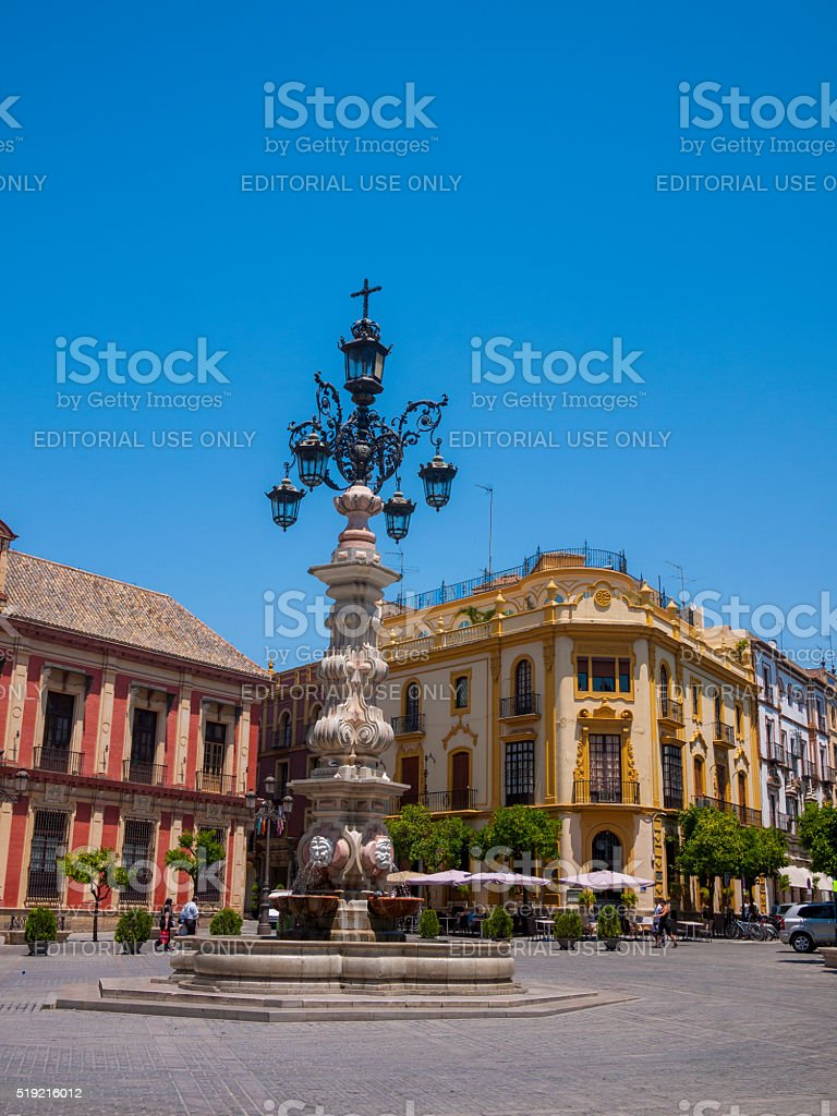 Plaza Virgen de los Reyes in Seville, Spain stock photo