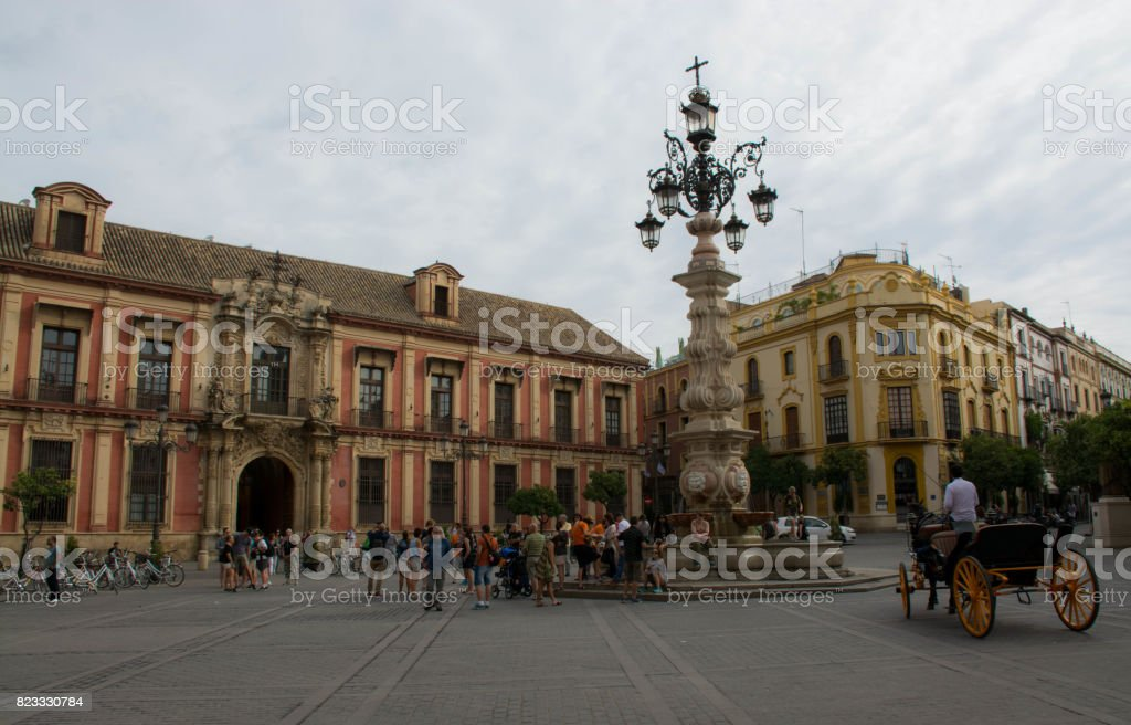 Plaza Virgen de los Reyes stock photo