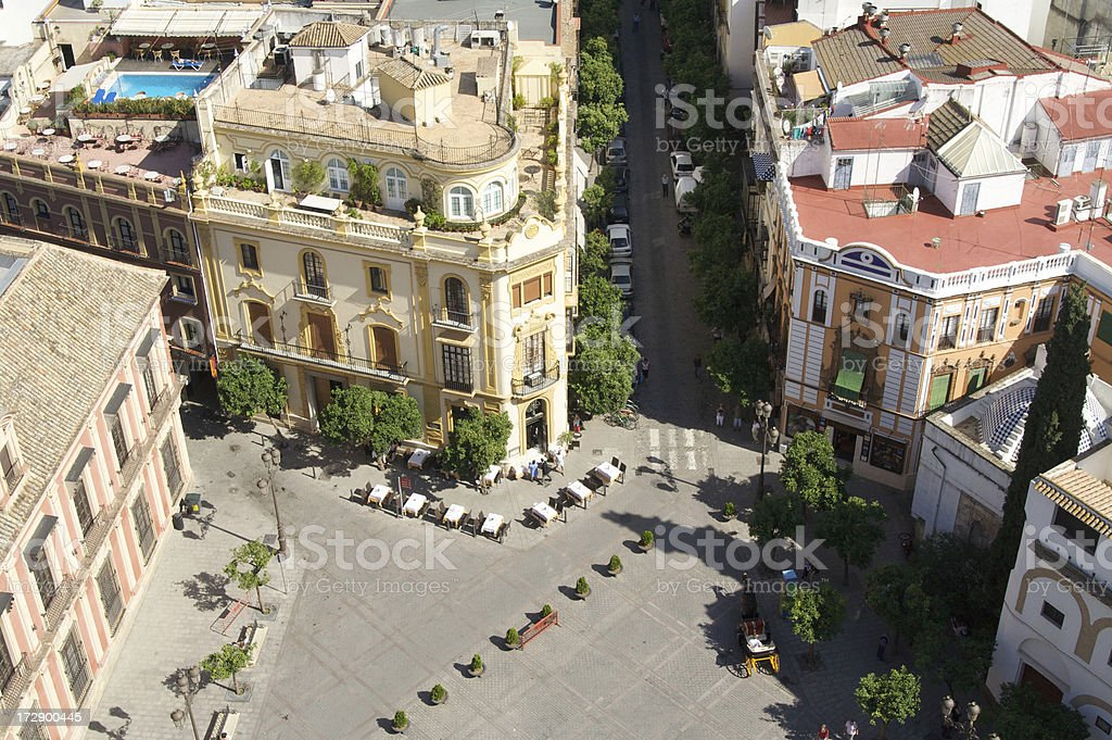 Plaza Virgen de los Reyes, Seville, Spain From Above : Horizontal royalty-free stock photo