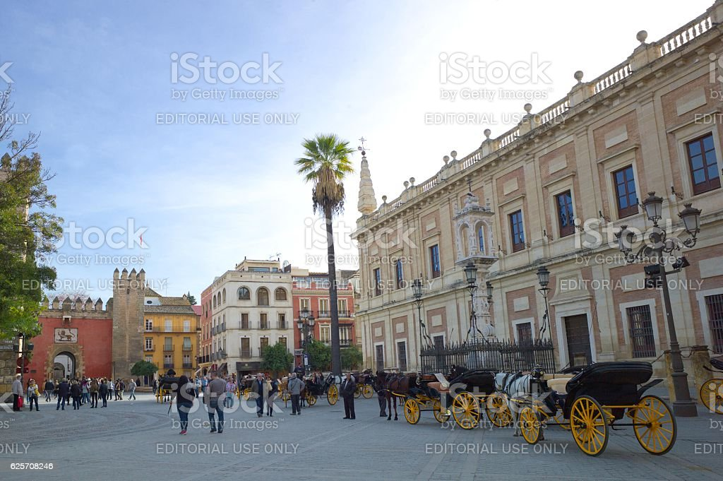 Plaza Virgen de los Reyes, Seville, Spain stock photo