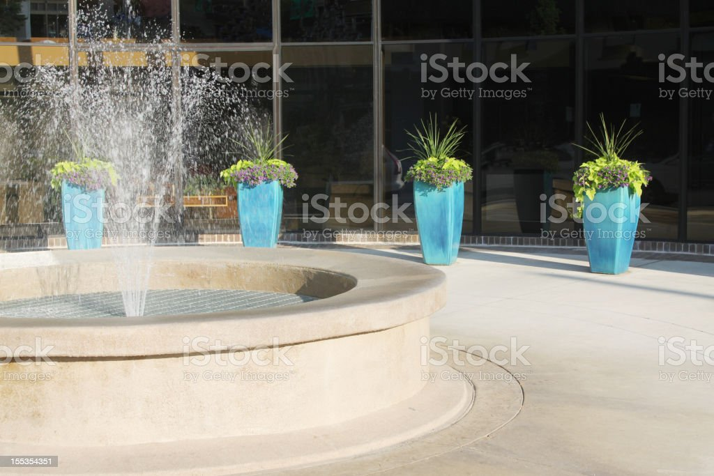 Plaza with Fountain stock photo