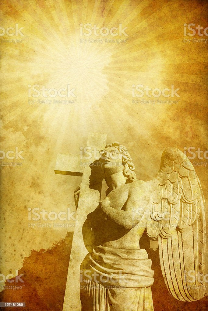 pleading angel with cross - vintage photo royalty-free stock photo