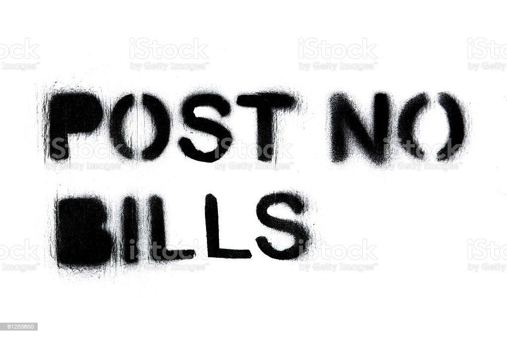 Pleas, no bills stock photo