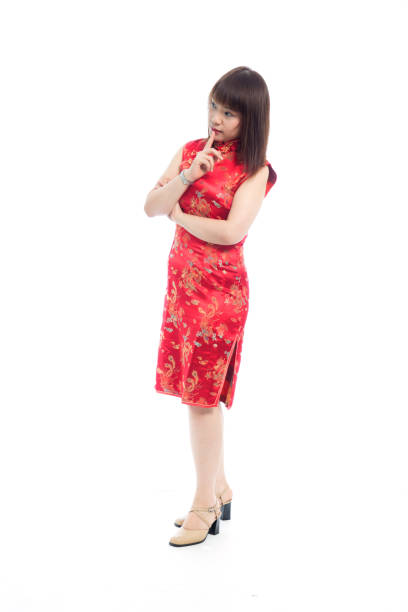 5232db1736c2 Pleasant Asian young woman in traditional red Chinese dress short sleeve,  Qi Pao, Cheongsam
