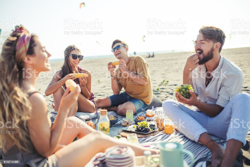 Pleasant beach picnic with my friends stock photo
